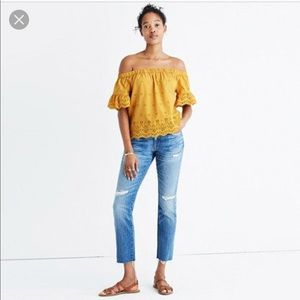 Madewell Yellow Eyelet Off the Shoulder Top L NWT